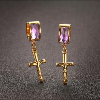 Fashion Hanging Cross Earrings For Men Single Stone Earring Designs