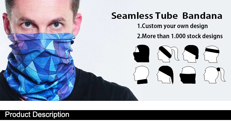 Wholesale Polyester Fabric Face Mask Seamless Tube Multifunctional Bandana