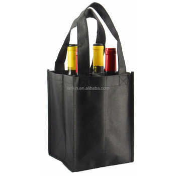 Non Woven 4 Bottle Wine Tote Bag Personalized Reusable