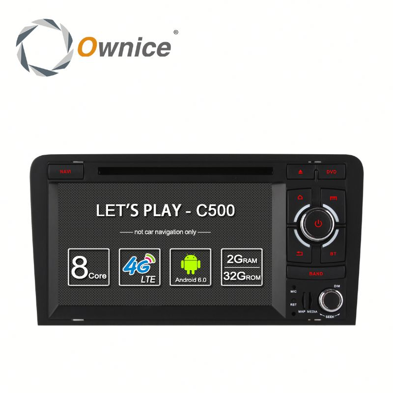 Ownice Android 6.0 Car GPS Navigation for Audi A3 S3 with GPS Navi Stereo WIFI built 4G lte DVD support TV