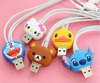 New arrival 3 in 1 usb cable retractable flat micro magnetic high quality cartoon usb cable