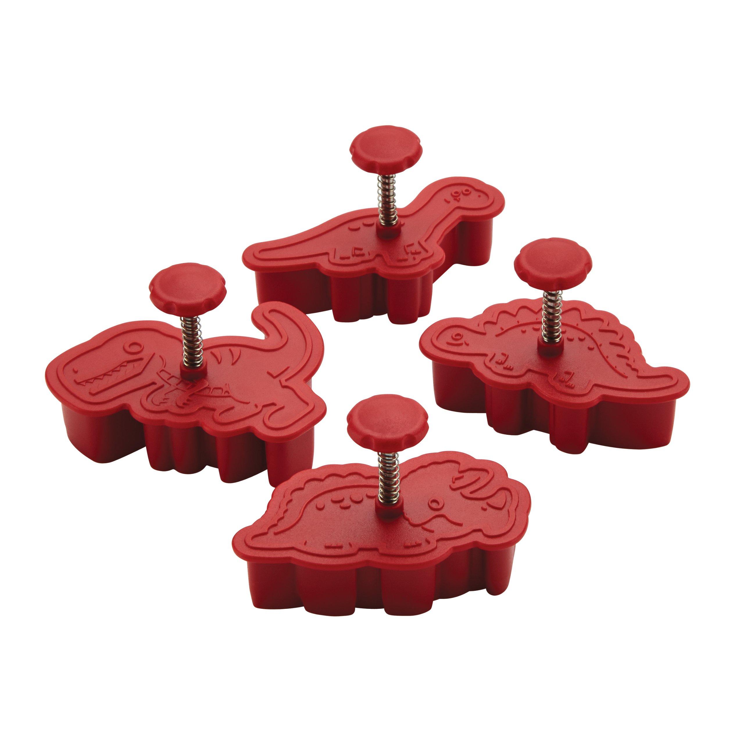 Cake Boss Decorating Tools 4-Piece Dinosaur Fondant Press Set, Red