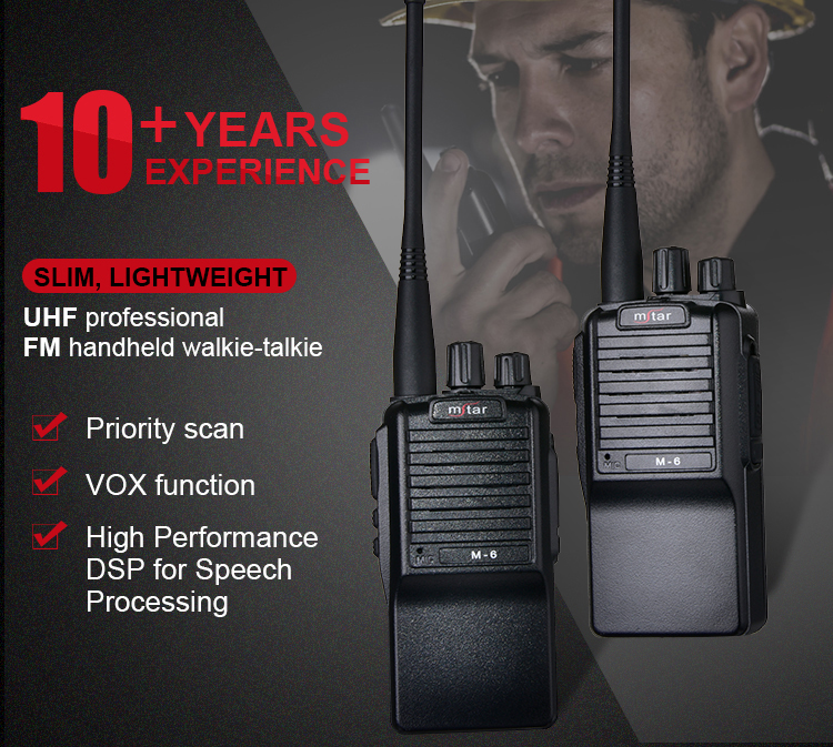 Mstar M-6 Long Range Handheld Wireless Two Way Radio Transceiver Walkie Talkie For Commercial Restaurant/Civil Use