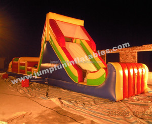2015 Long Obstacle Course/Big inflatable obstacle games/Adults jump castle and slide