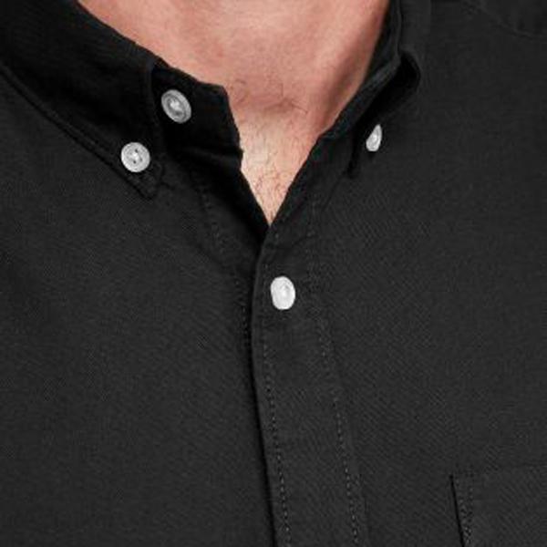 6337669353 Oem camisa oxford para hombres formal Vieira dobladillo camisa negra de  manga larga de