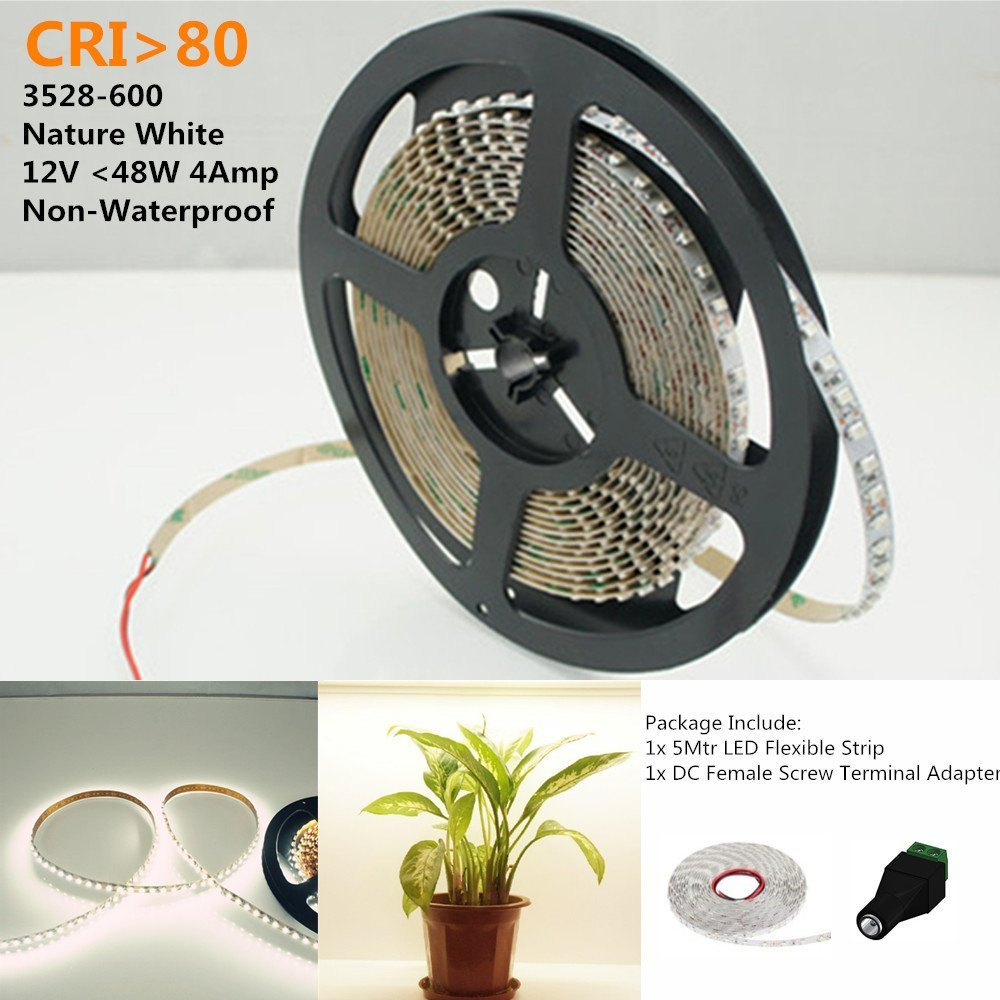 LightingWill LED Rope Lights CRI80 SMD3528 16.4Ft(5M) 600LEDs Nature White 4000K-4500K 120LEDs/M DC12V 48W 9.6W/M 8mm White PCB Flexible Ribbon Strip with Adhesive Tape Non-Waterproof M3528NW600N
