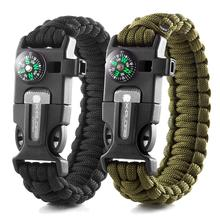 Wilderness Survival Gear kit- Protection Paracord Bracelets with Embedded Compass, Fire Starter, Emergency Knife & Whistle