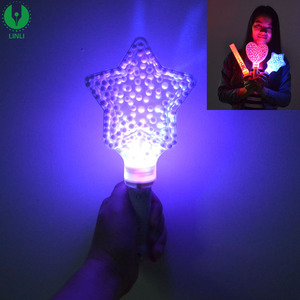 Colorful LED Plastic Wand, Star Fairy Flashing Stick Light for Party