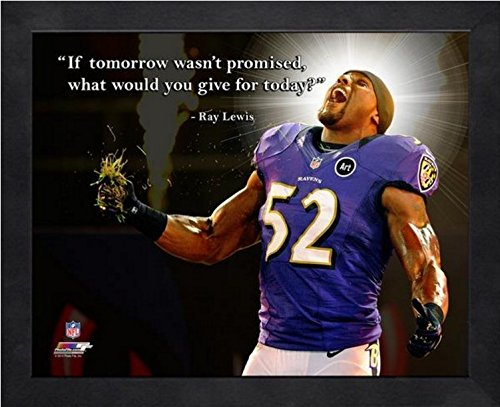 """Ray Lewis Baltimore Ravens Pro Quotes Photo (Size: 9"""" x 11"""") Framed"""