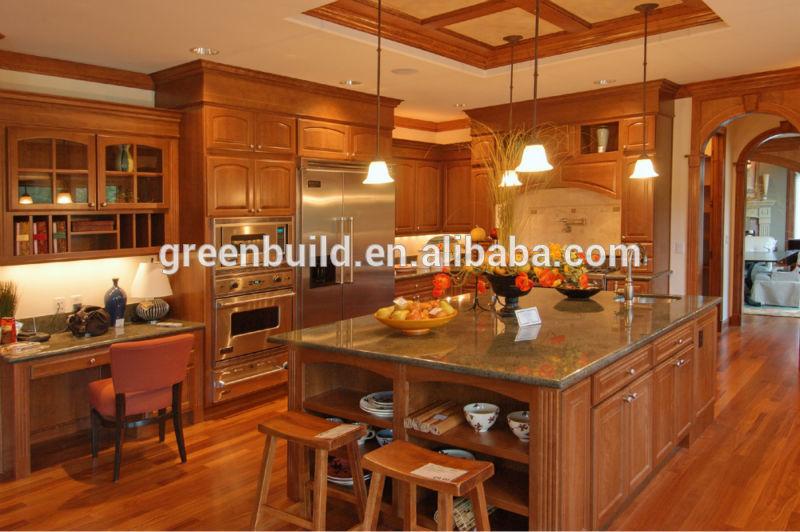cereza de madera maciza gabinete de cocina de diseños-Cocinas ...