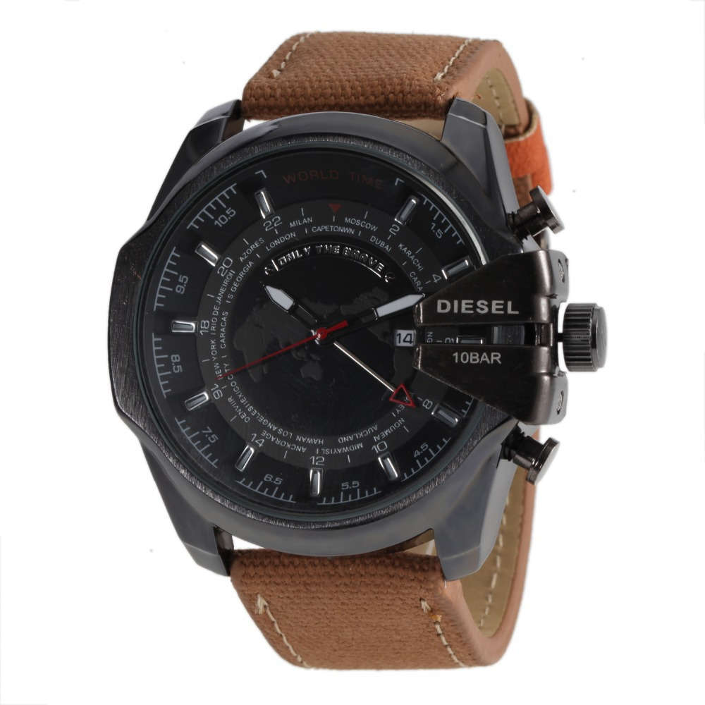relogios masculinos 2015 New fashion luxury brand dz watch 7313 clock Leather Casual Watches Full Men Watch Military montre