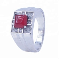 New 2015 sterling silver jewelry big stone mens ring ruby gemstone cz ring