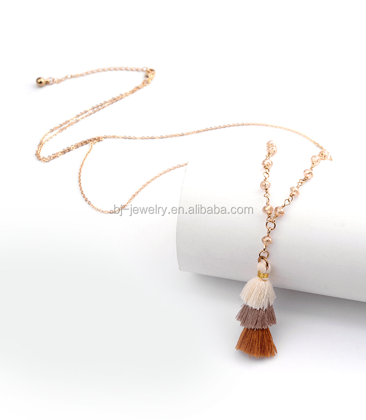 Latest Design Polyester Tassel Pendant Beads Gold Chain Women Necklace