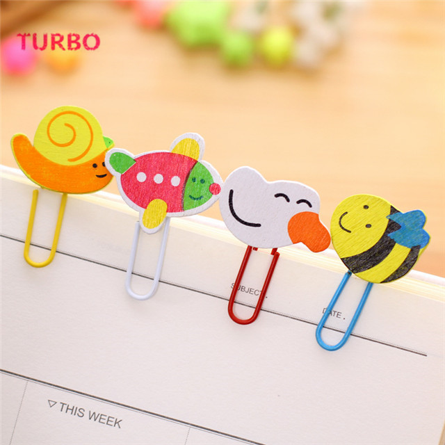 Cheap promotional school gifts stationery korean New promotion free printable kids student cartoon animal wooden bookmark clip