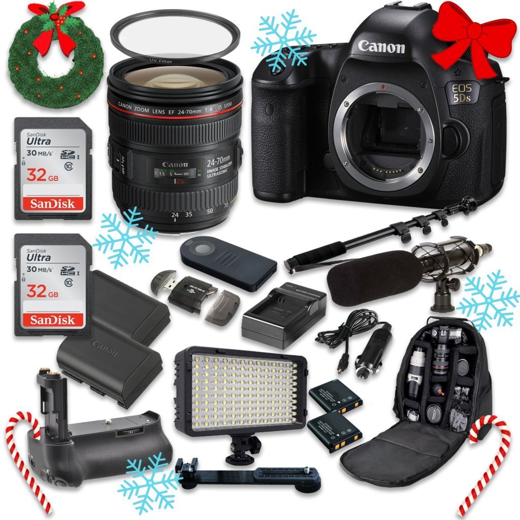 Canon EOS 5DS 50.6MP Full Frame CMOS Digital SLR DSLR Camera with EF 24-70mm f/4.0L IS USM Zoom Lens + 2pc SanDisk 32GB Memory Cards + Battery Power Grip + Special Promotional Holiday Accessory Bundle
