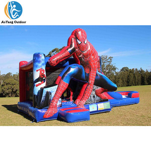 Spiderman inflatable bounce house bouncy jumping castle combo with slide