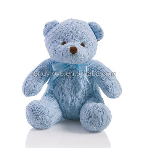 Bear Type Plush Toys Blue Cable Knitted Teddy Bear