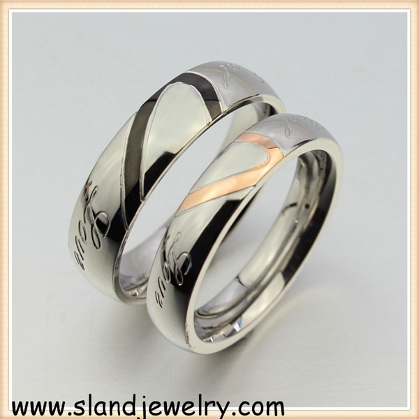 2 pcs couples ring set puzzle matching heart puzzle ring stainless steel real love promise - Puzzle Wedding Rings