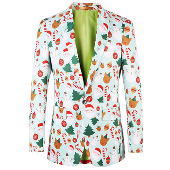 Fancy Design Printed Santa Clause Ugly Christmas Party Suit Jacket ...