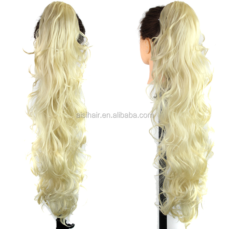 Light blonde 613# claw clip ponytail Long curly wave synthetic hair weave ponytail for white women
