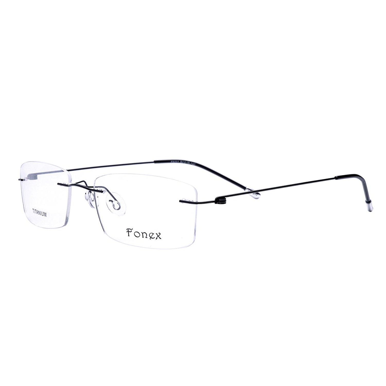 feafa68e5024 FONEX Screwless Rimless Memory Titanium Alloy Prescription Glasses Optical  Frame 9201