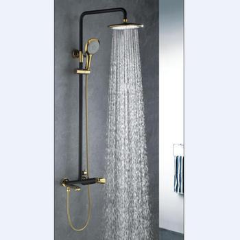 Luxury Wall Mount Bathroom Black Shower Set With Rain Shower Head And Handheld  Shower