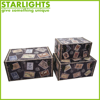 black faux leather and fabric covered mdf nested decorative storage trunks