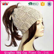 Womens Knit Wool Ponytail Beanie Hat Pattern
