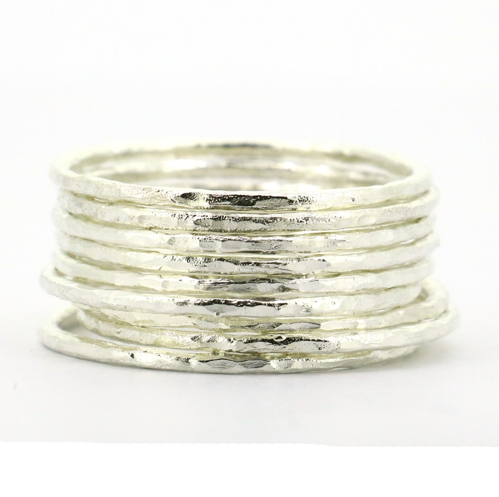 9pcs Set Genuine 925 Sterling <strong>Silver</strong> Hammered Knuckle Midi Stacking Rings
