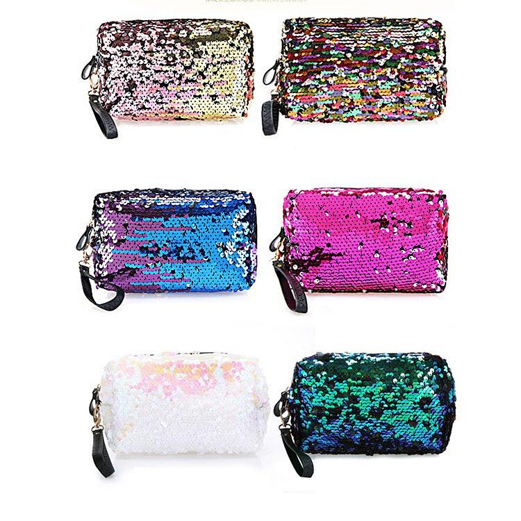 Kosmetiktasche Meerjungfrau Pailletten Handtasche Doppel Farben Make-up Taschen