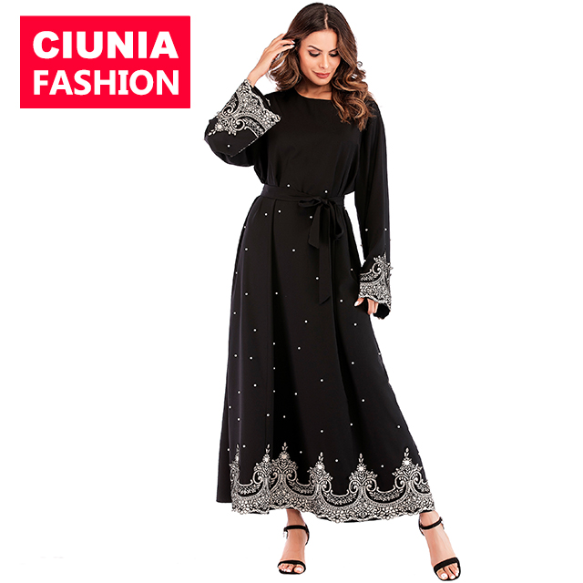 6071#New traditional long sleeve dresses women muslim hijabs 2019 islamic clothing dubai abaya