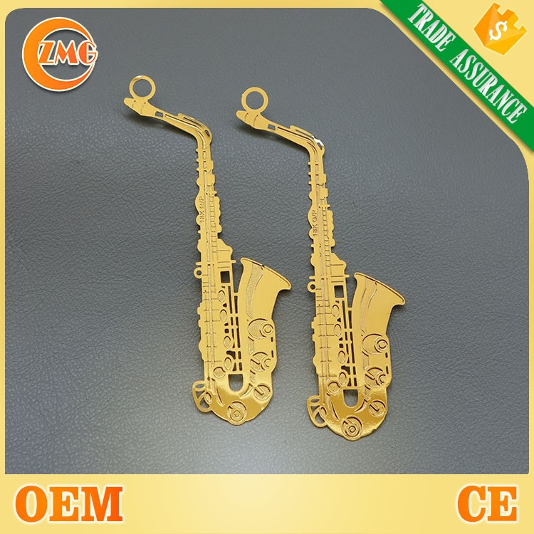 custom metal etching shaped music style gold bookmarks