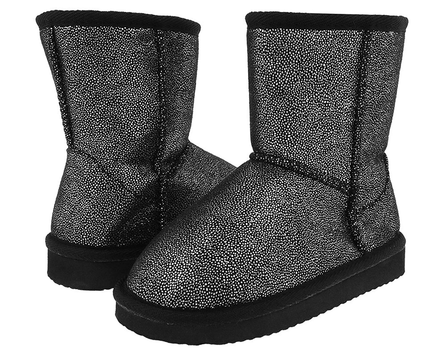 Capelli New York Metallic Printed Faux Suede with Faux Fur Lining on a Fabric Girls Boot