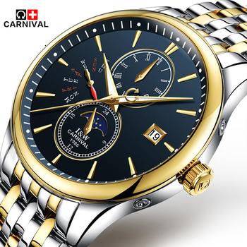 Montre bracelet Automatique Mécanique Carnaval De Marque 10 Pour Hommes Saphir Fenêtre Phase De Lune Relogio Masculino Buy Montre