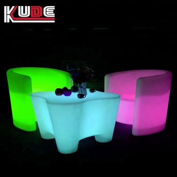 New Led Light Up Outdoor Furniture16 Colors Changing Plastic Sofa