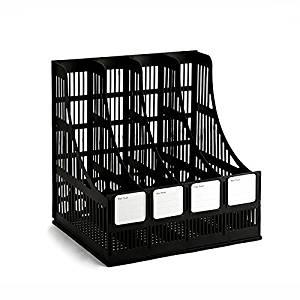 Tmarton 4-Compartment Magazine and Literature File Desktop Organizer Office Supply Holder&Labels, Black