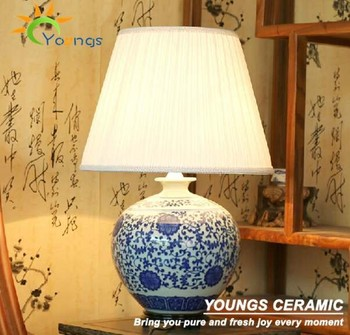 Antique Blue And White Porcelain Chinese Ceramic Base Table Lamps For Hotel  Home