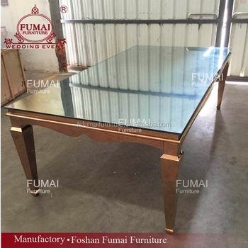 Mirror Top Table Wedding Metal Gold Frame Banquet Dining Made In China