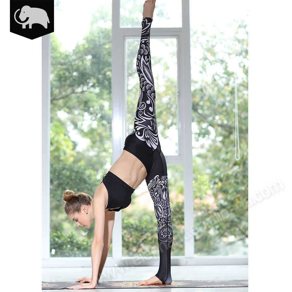 Slimming fit adult group black and white unique yoga leggings