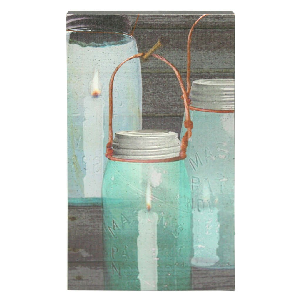 "Ohio Wholesale 36985 - 16-1/2"" x 10"" x 1-1/2"" - ""Canning Jar Candles"" Battery Operated LED Lighted Canvas (Batteries Not Included)"