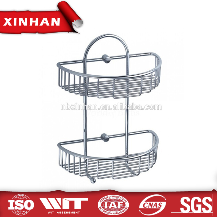 Chrome Curved Two Tier Shower Caddy Shower Basket with Hooks