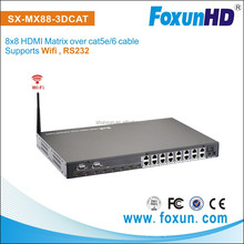 8x8 HDMI 1080P Matrix RJ45 Switcher Extender Full HD 8 Displays via Cat5/6 Cable Supports EDID HDCP WiFi Control