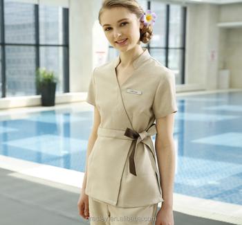 Restaurant hotel unisex waiter waitress uniform breathable for Spa uniform europe
