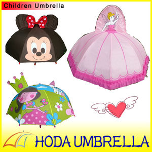 Kids lovely cartoon character ear shape craft straight umbrella/Children parasol with animal print fabric