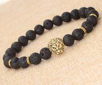 2019 Hot sell Women men 's Lava volcano stone buddha bead bracelet with lion tiger head charm