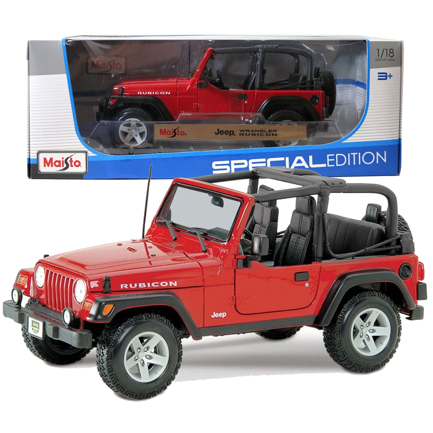 """Maisto Year 2014 Special Edition Series 1:18 Scale Die Cast Car Set - Red Color Sports Utility Vehicle JEEP WRANGLER RUBICON (SUV Dimension: 8"""" x 3-1/2"""" x 3-1/2"""")"""