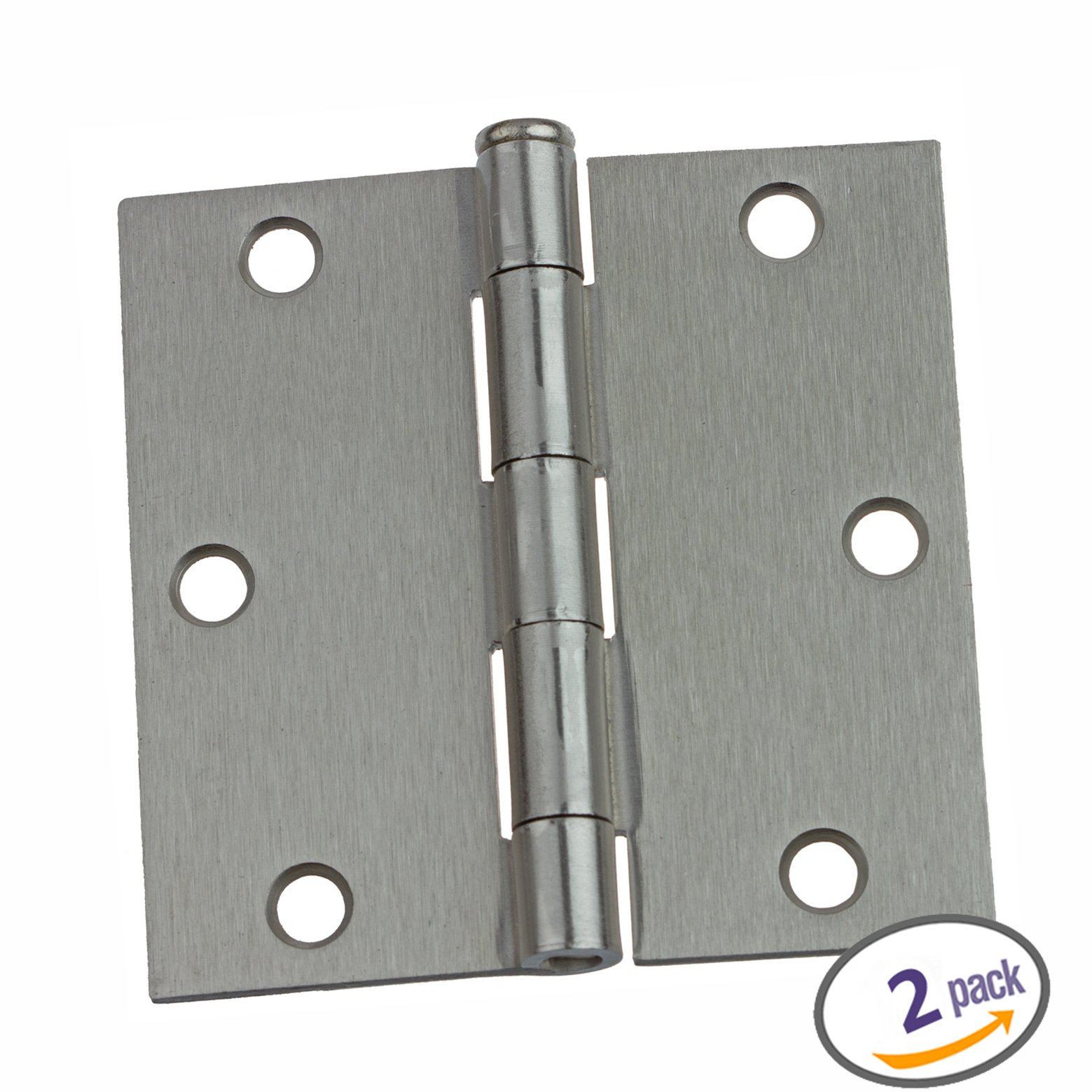 Dynasty Hardware 3-1//2 Door Hinges 1//4 Radius Corner Satin Nickel 12 Pack