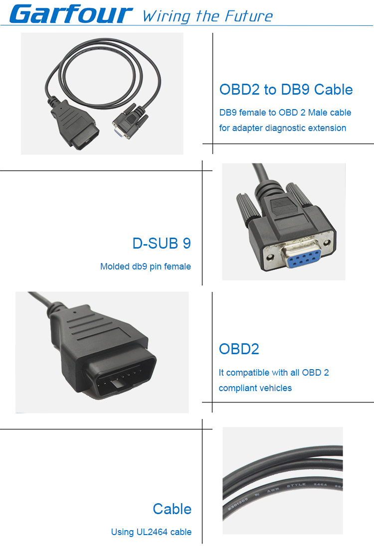 D-sub 9 to OBD2 cable OBD 16pin connector interface harness wiring automotive interface scanner cable