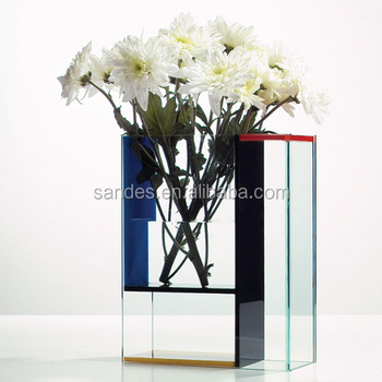 Rectangular Pop China Transparent Color Cheap Acrylic Tube Vase