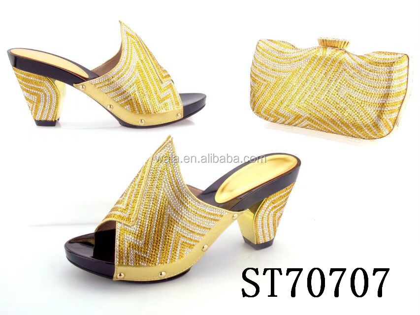 shoes women ST70707 mid party glod and for bag set heel shiny S4AATwqxX